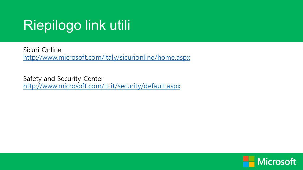 Riepilogo link utili Sicuri Online http://www.microsoft.com/italy/sicurionline/home.aspx.