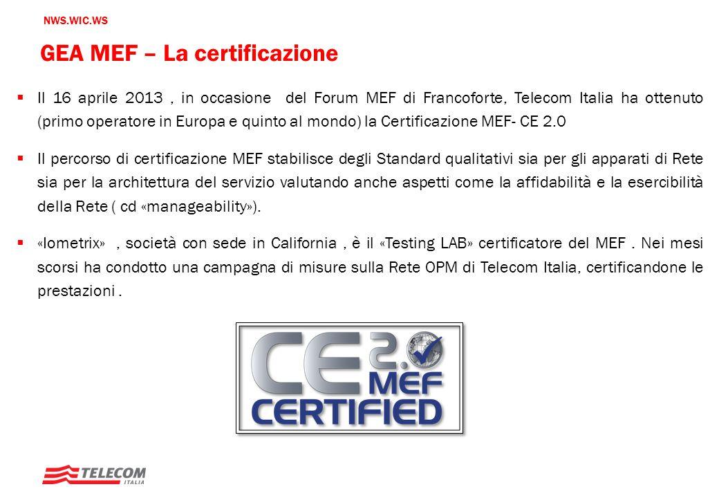 GEA MEF – La certificazione