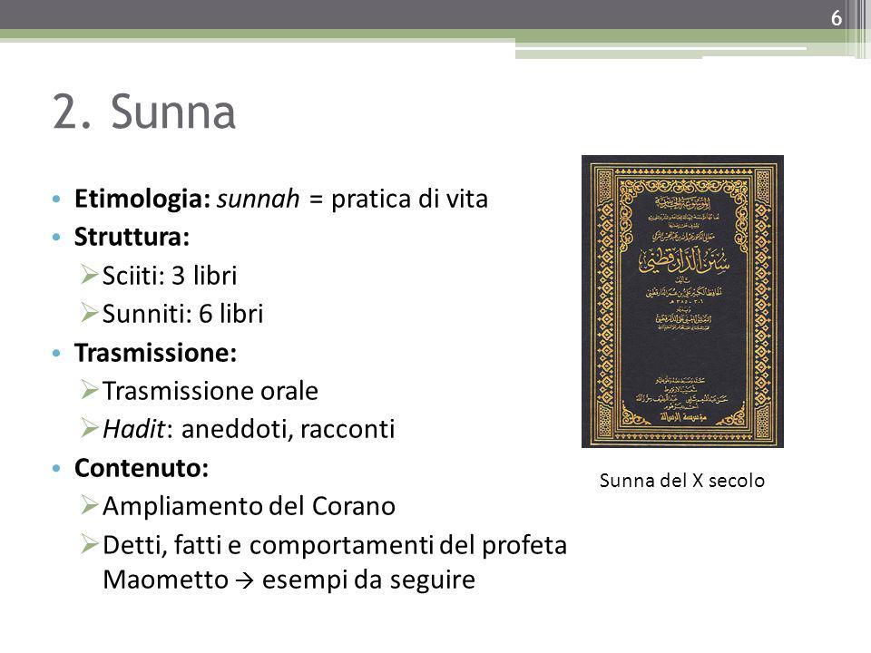 2. Sunna Etimologia: sunnah = pratica di vita Struttura: