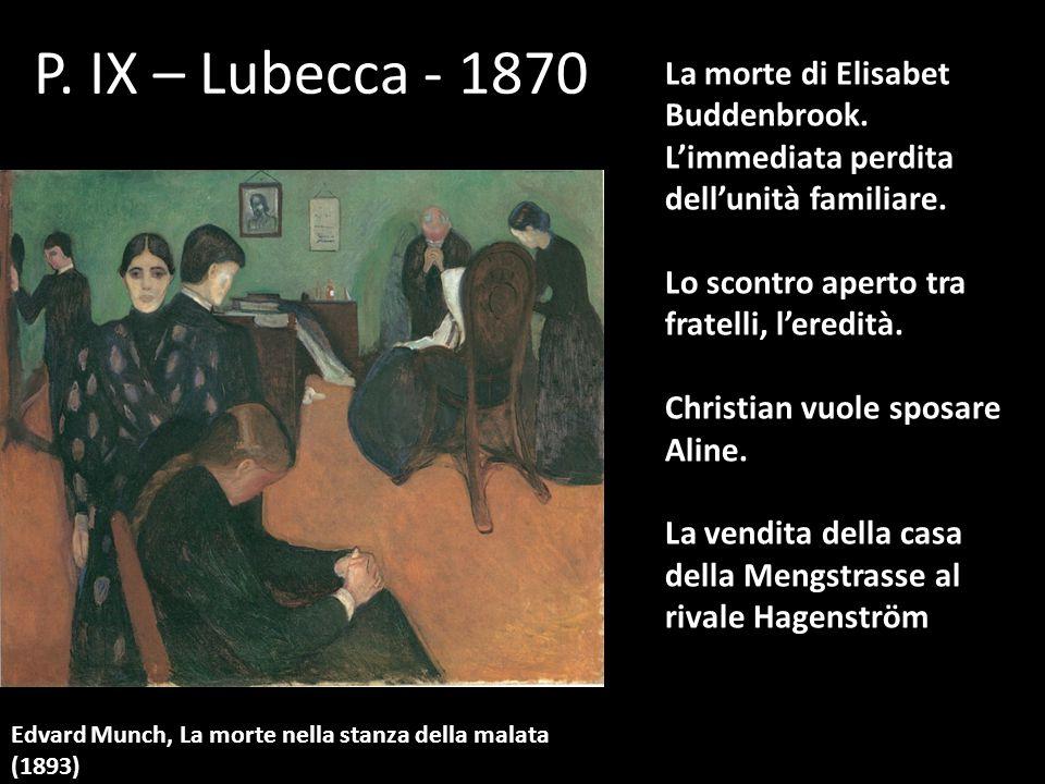 P. IX – Lubecca - 1870 La morte di Elisabet Buddenbrook. L'immediata perdita dell'unità familiare. Lo scontro aperto tra fratelli, l'eredità.