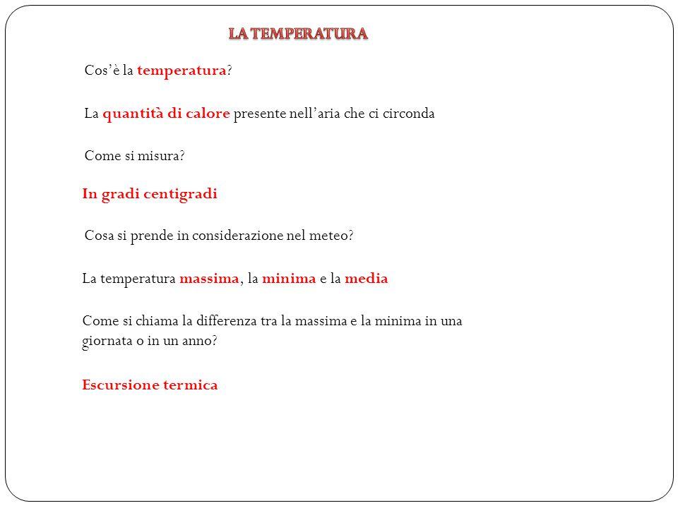 LA TEMPERATURA Cos'è la temperatura La quantità di calore presente nell'aria che ci circonda. Come si misura
