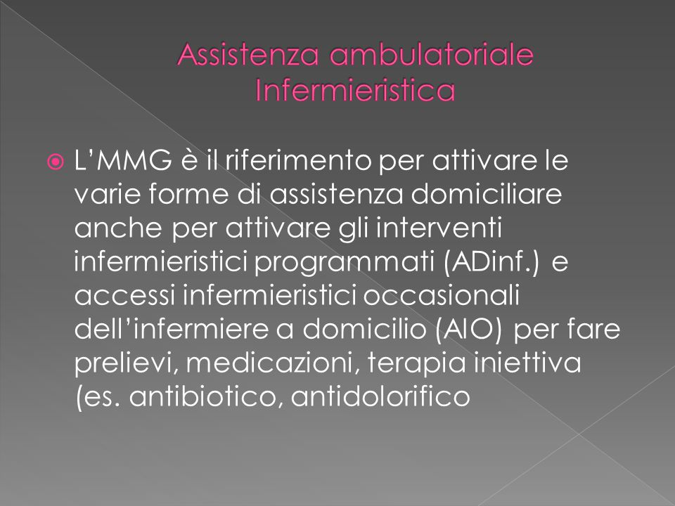 Assistenza ambulatoriale Infermieristica