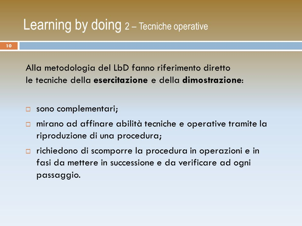 Learning by doing 2 – Tecniche operative