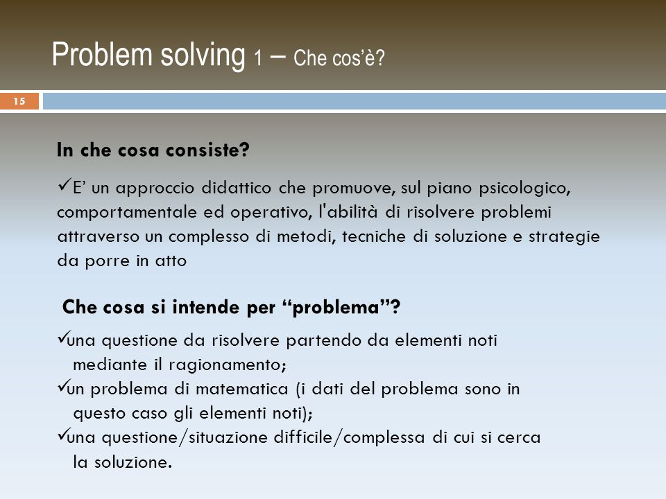 Problem solving 1 – Che cos'è