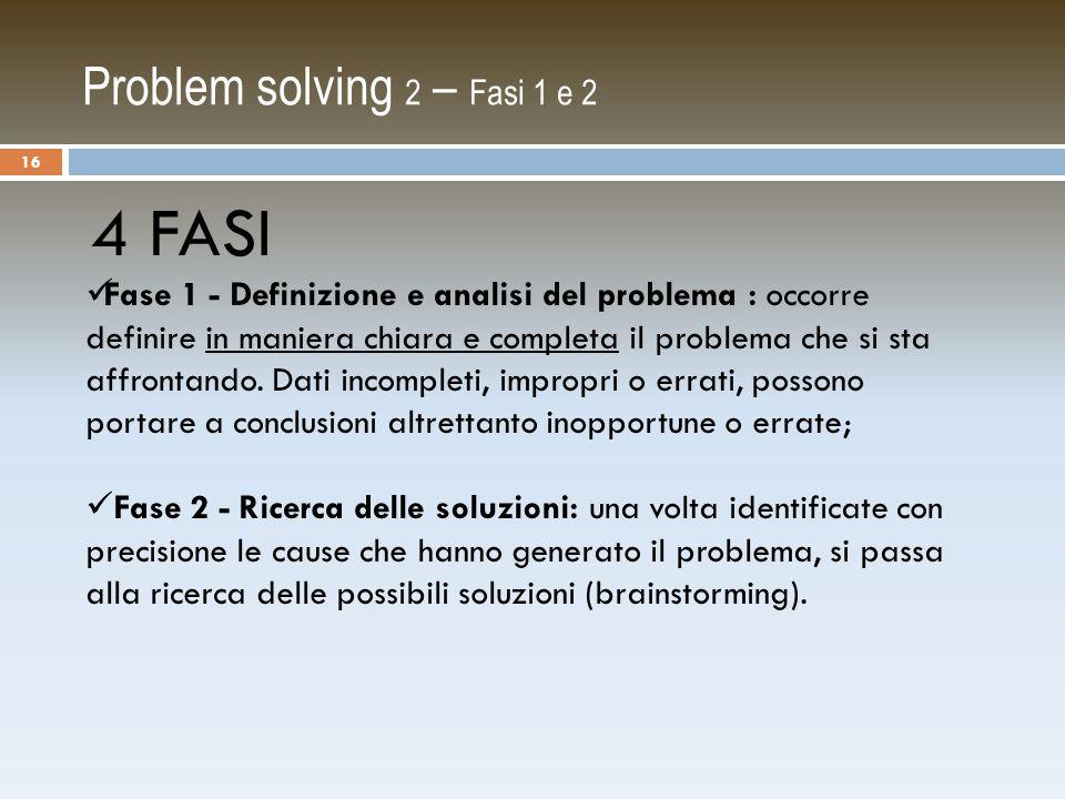 Problem solving 2 – Fasi 1 e 2