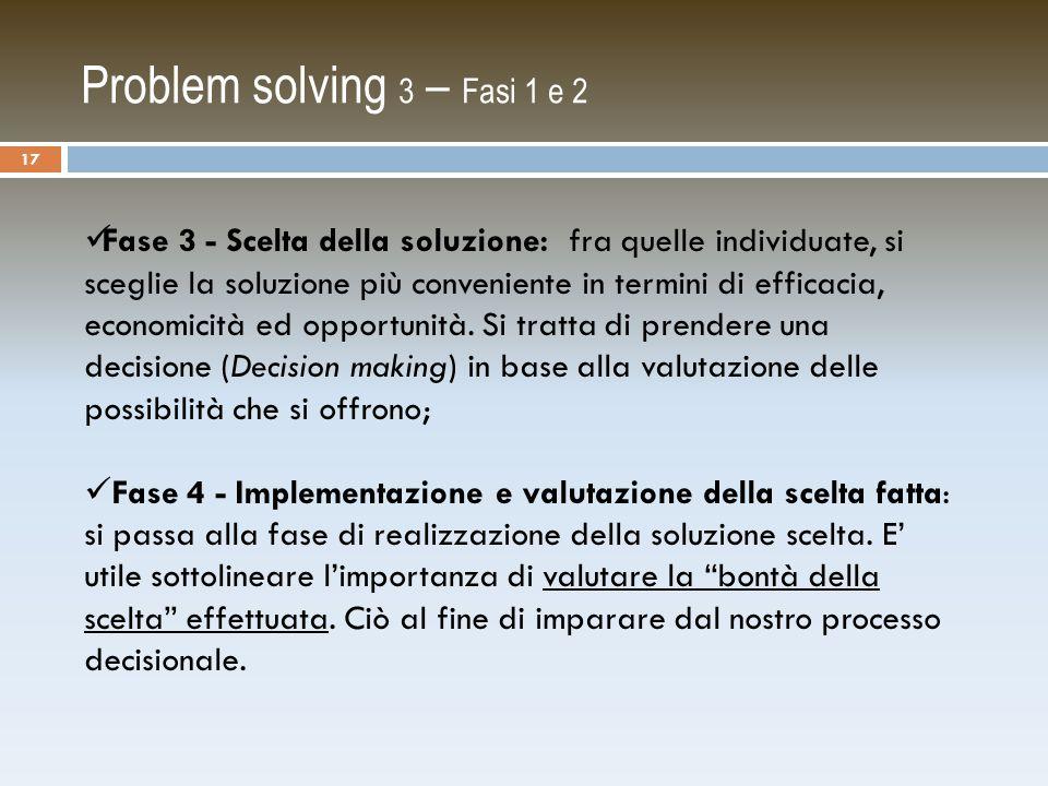 Problem solving 3 – Fasi 1 e 2