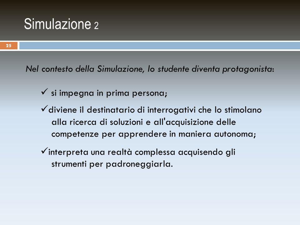 Simulazione 2 Nel contesto della Simulazione, lo studente diventa protagonista: si impegna in prima persona;