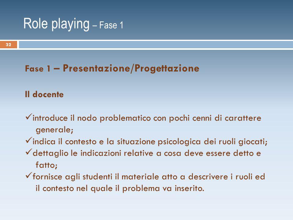 Role playing – Fase 1 Fase 1 – Presentazione/Progettazione Il docente