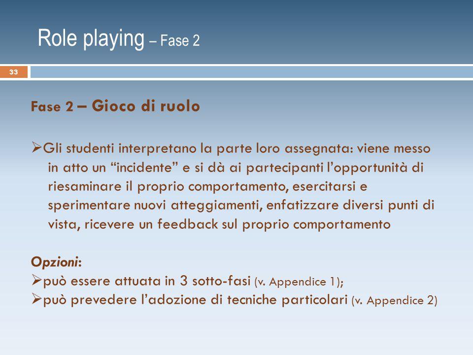 Role playing – Fase 2 Fase 2 – Gioco di ruolo
