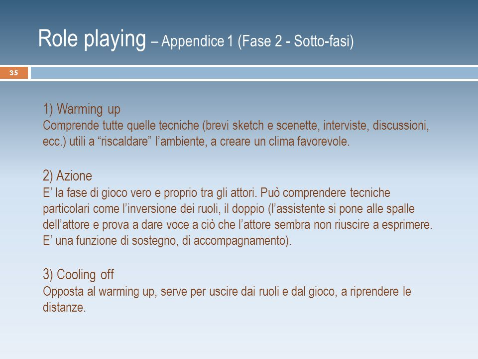 Role playing – Appendice 1 (Fase 2 - Sotto-fasi)