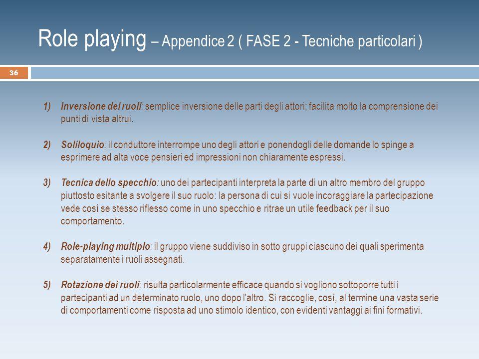 Role playing – Appendice 2 ( FASE 2 - Tecniche particolari )