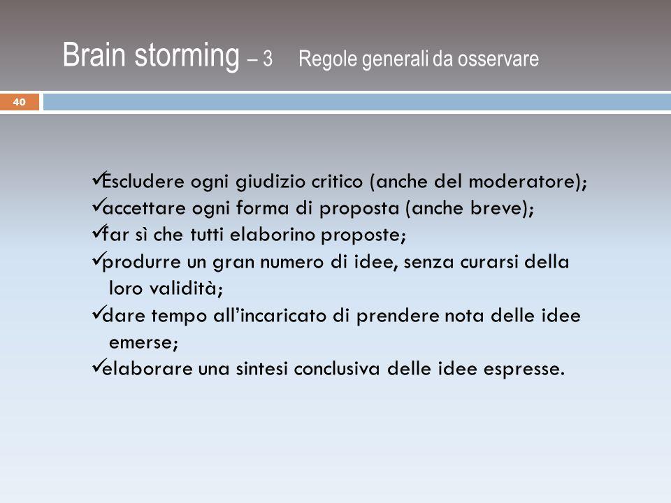 Brain storming – 3 Regole generali da osservare