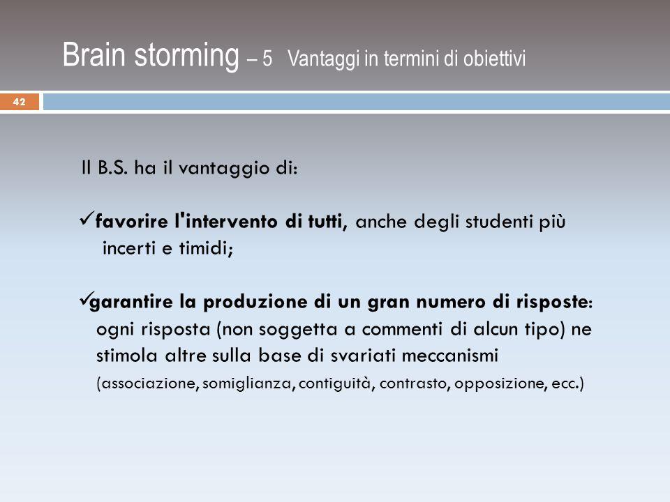 Brain storming – 5 Vantaggi in termini di obiettivi