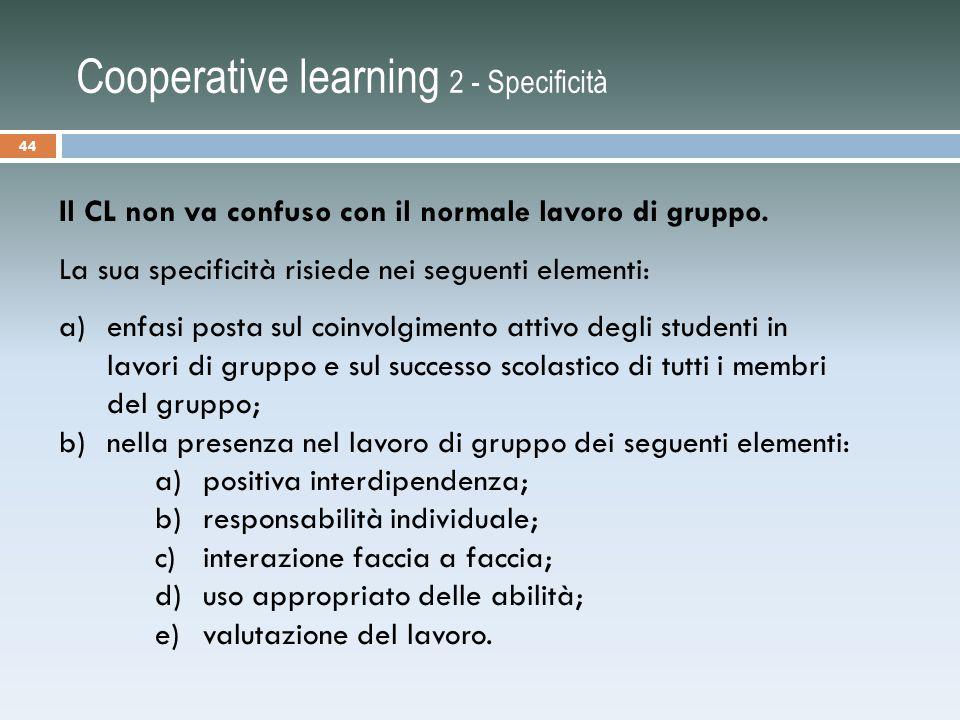Cooperative learning 2 - Specificità
