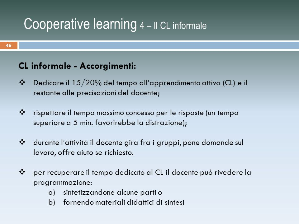 Cooperative learning 4 – Il CL informale