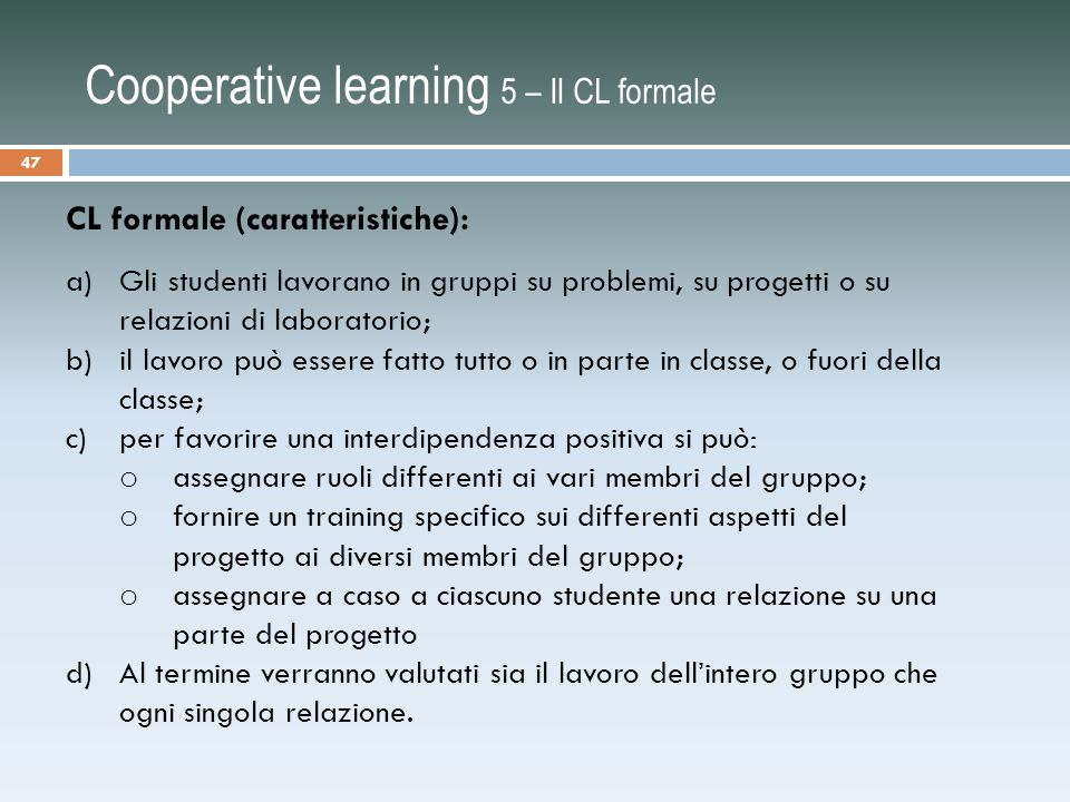 Cooperative learning 5 – Il CL formale