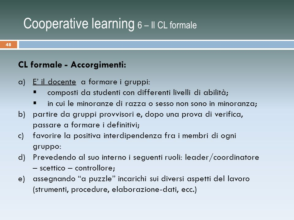 Cooperative learning 6 – Il CL formale