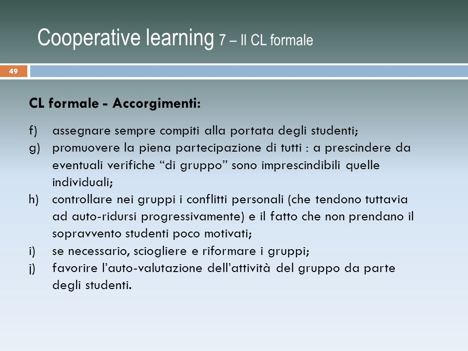 Cooperative learning 7 – Il CL formale