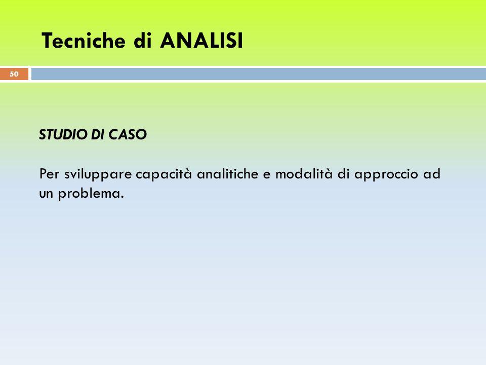 Tecniche di ANALISI Studio di caso
