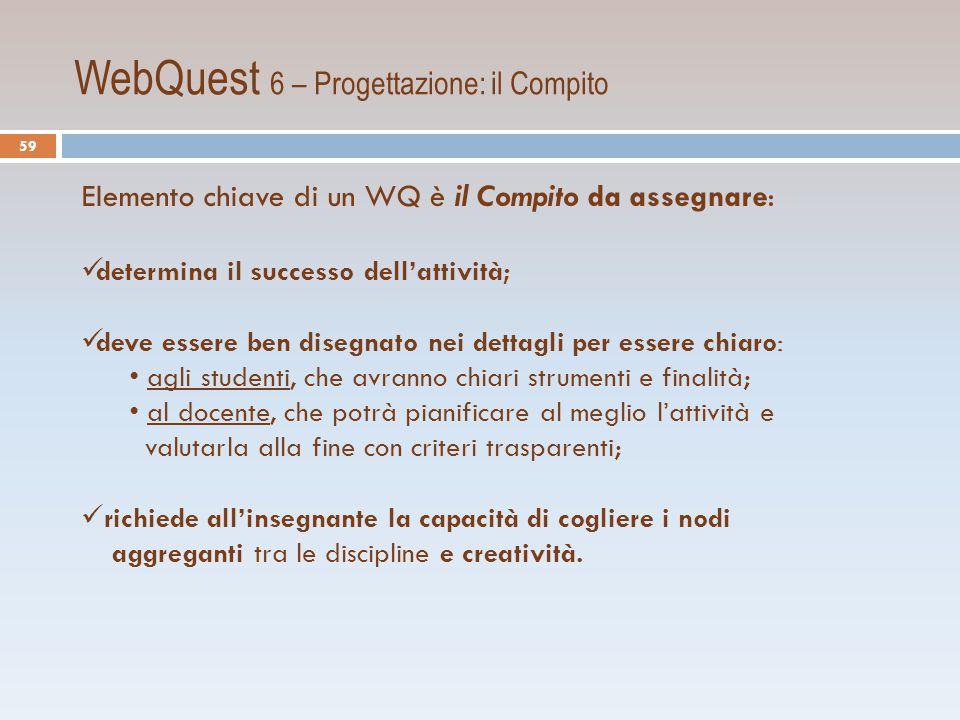 WebQuest 6 – Progettazione: il Compito
