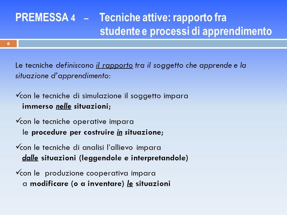PREMESSA 4 – Tecniche attive: rapporto fra studente e processi di apprendimento
