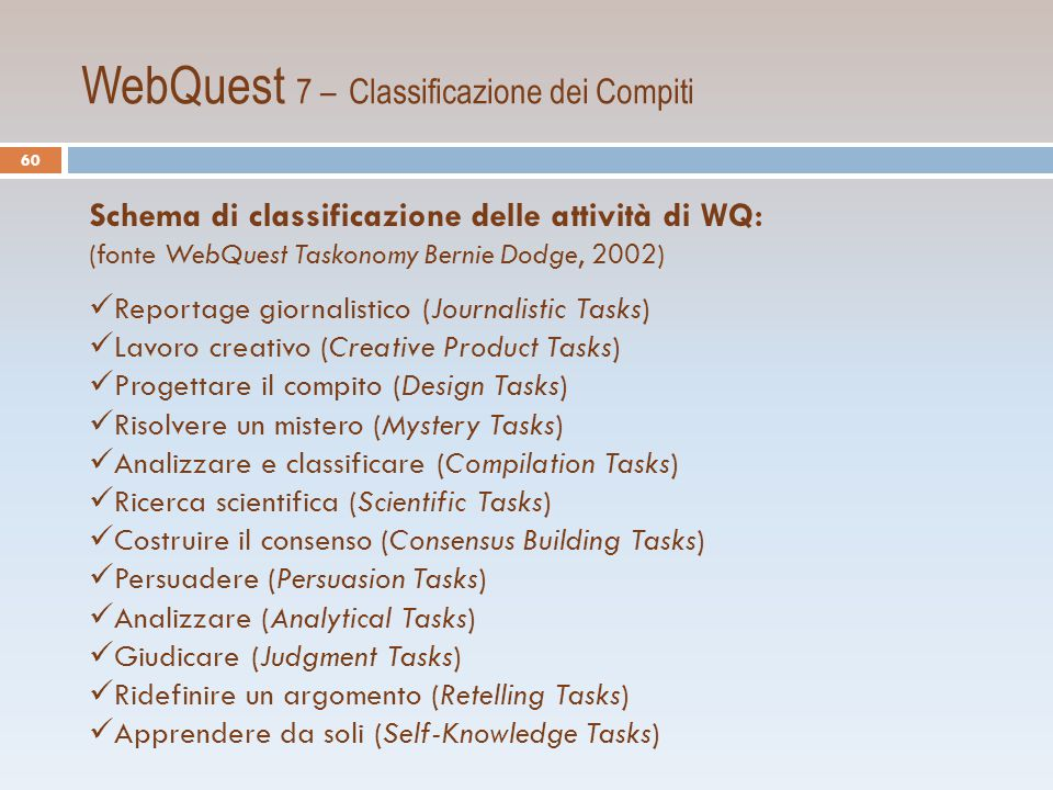 WebQuest 7 – Classificazione dei Compiti