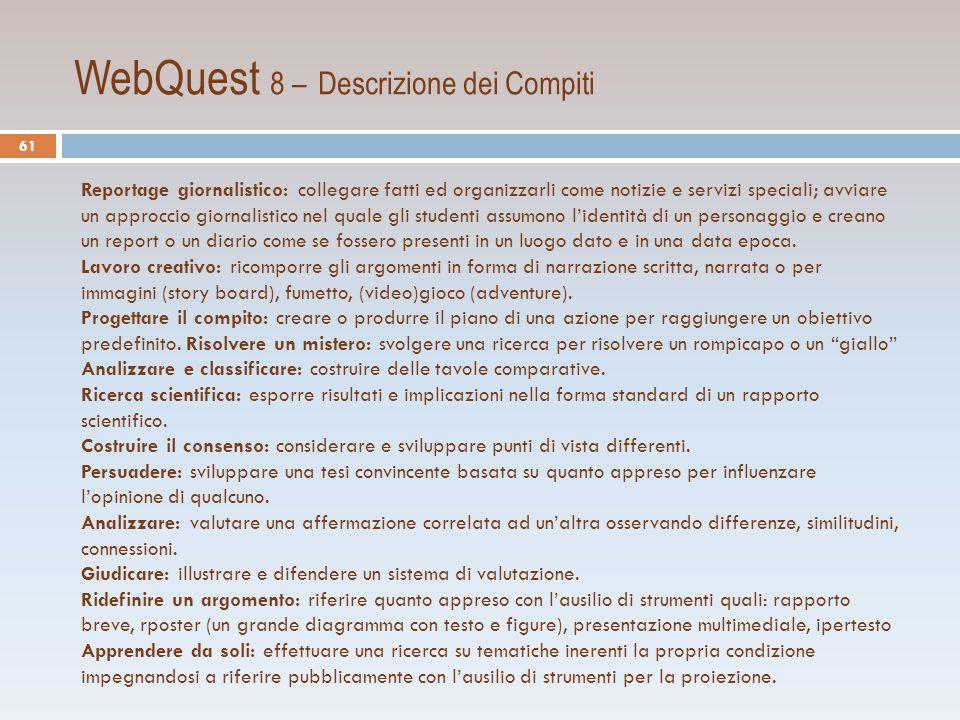 WebQuest 8 – Descrizione dei Compiti