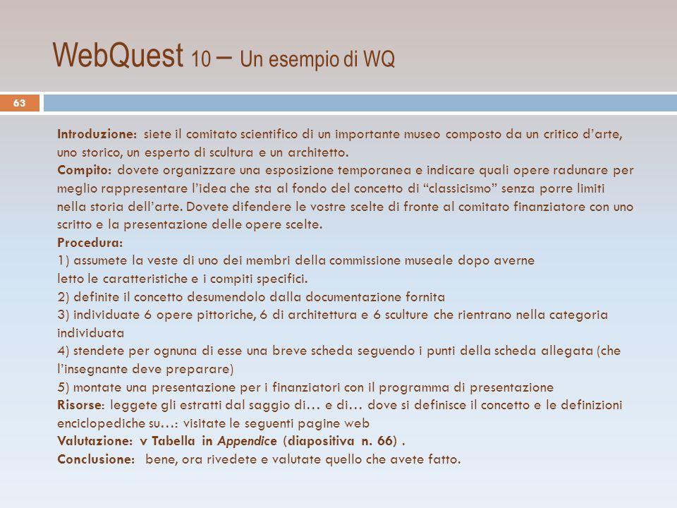 WebQuest 10 – Un esempio di WQ