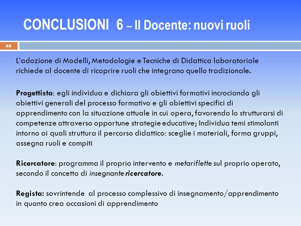 CONCLUSIONI 6 – Il Docente: nuovi ruoli