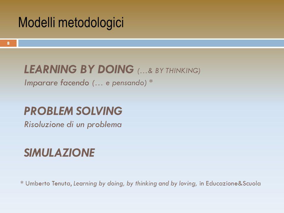 Modelli metodologici Learning by Doing (…& BY THINKING) Imparare facendo (… e pensando) * PROBLEM SOLVING Risoluzione di un problema.