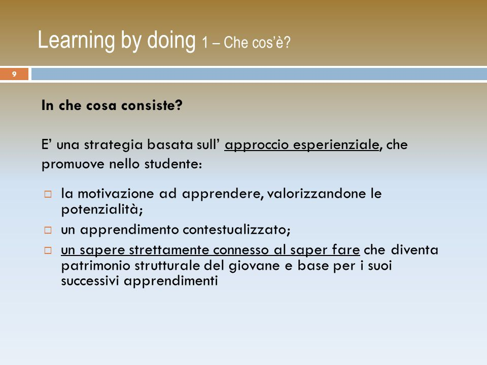 Learning by doing 1 – Che cos'è