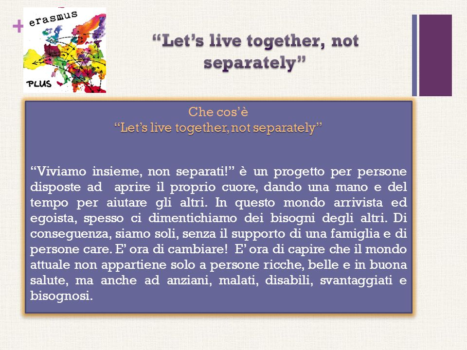 Let's live together, not separately