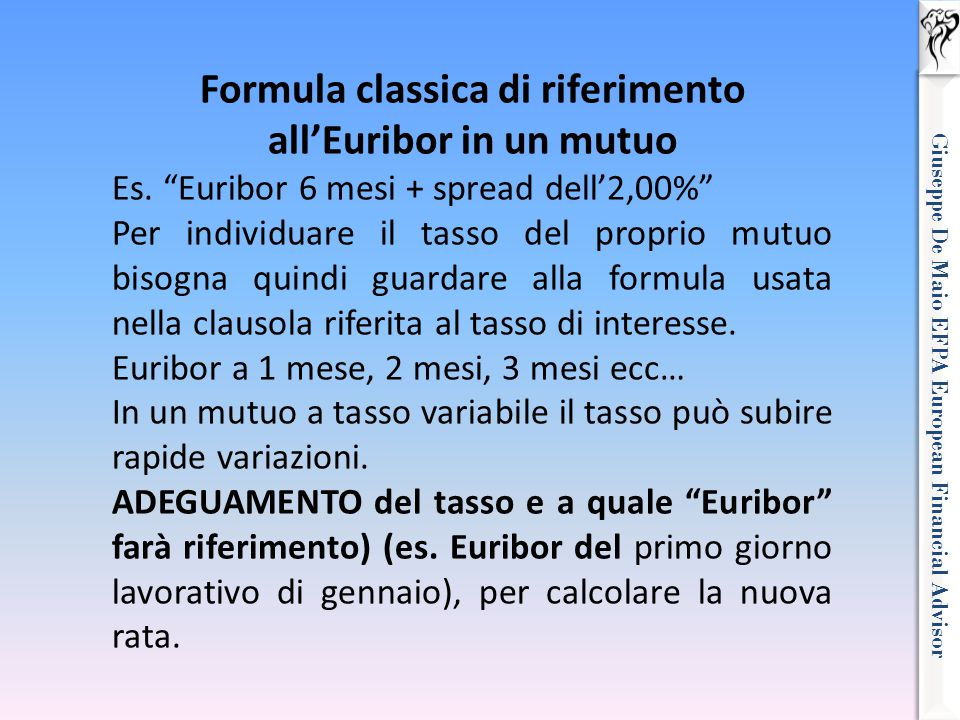 Formula classica di riferimento all'Euribor in un mutuo