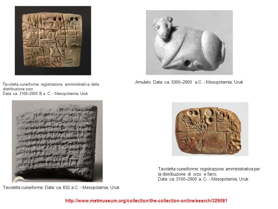 Amuleto. Data: ca. 3300–2900 a.C. - Mesopotamia, Uruk