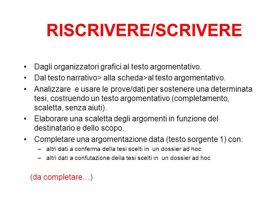 RISCRIVERE/SCRIVERE Dagli organizzatori grafici al testo argomentativo. Dal testo narrativo> alla scheda>al testo argomentativo.