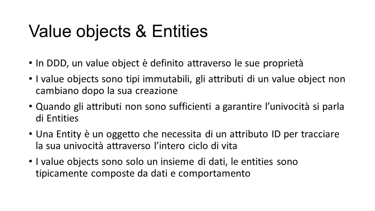 Value objects & Entities
