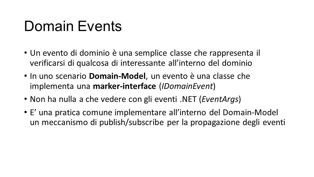 Domain Events Un evento di dominio è una semplice classe che rappresenta il verificarsi di qualcosa di interessante all'interno del dominio.