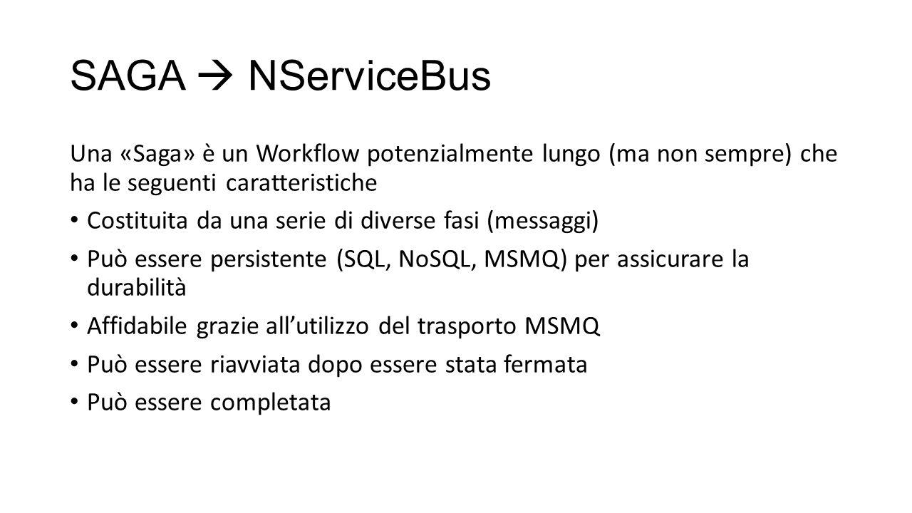 SAGA  NServiceBus Una «Saga» è un Workflow potenzialmente lungo (ma non sempre) che ha le seguenti caratteristiche.
