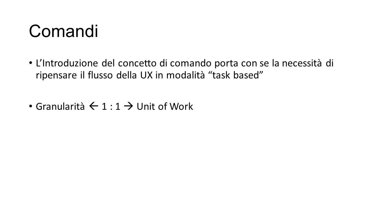 Comandi L'Introduzione del concetto di comando porta con se la necessità di ripensare il flusso della UX in modalità task based
