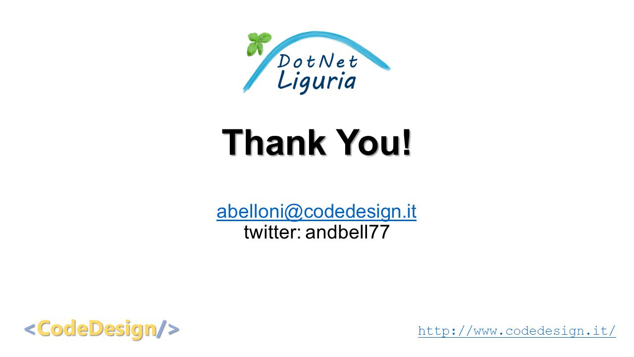 Thank You! abelloni@codedesign.it twitter: andbell77