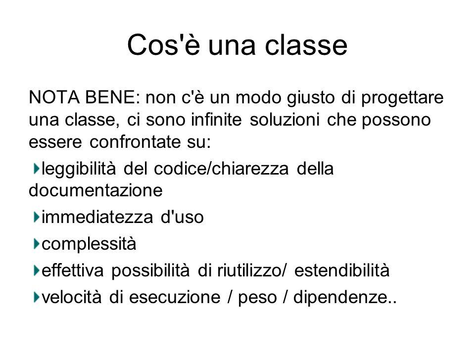 Cos è una classe NOTA BENE: non c è un modo giusto di progettare una classe, ci sono infinite soluzioni che possono essere confrontate su: