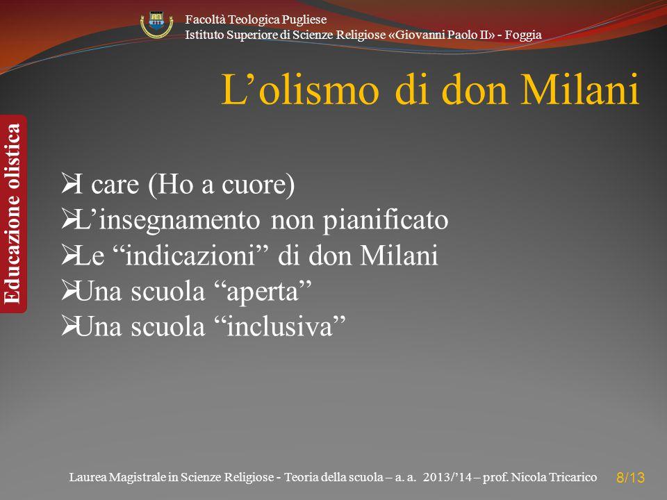L'olismo di don Milani I care (Ho a cuore)