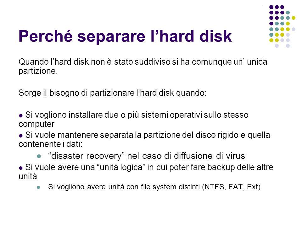 Perché separare l'hard disk