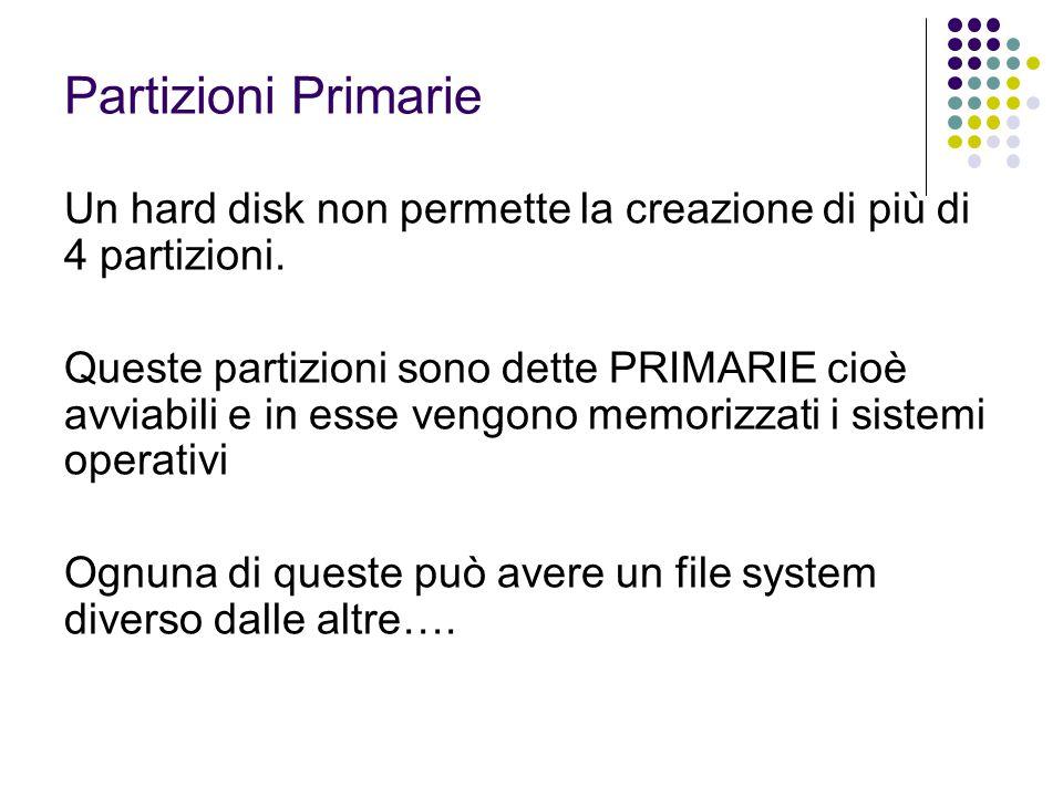 Partizioni Primarie Un hard disk non permette la creazione di più di 4 partizioni.
