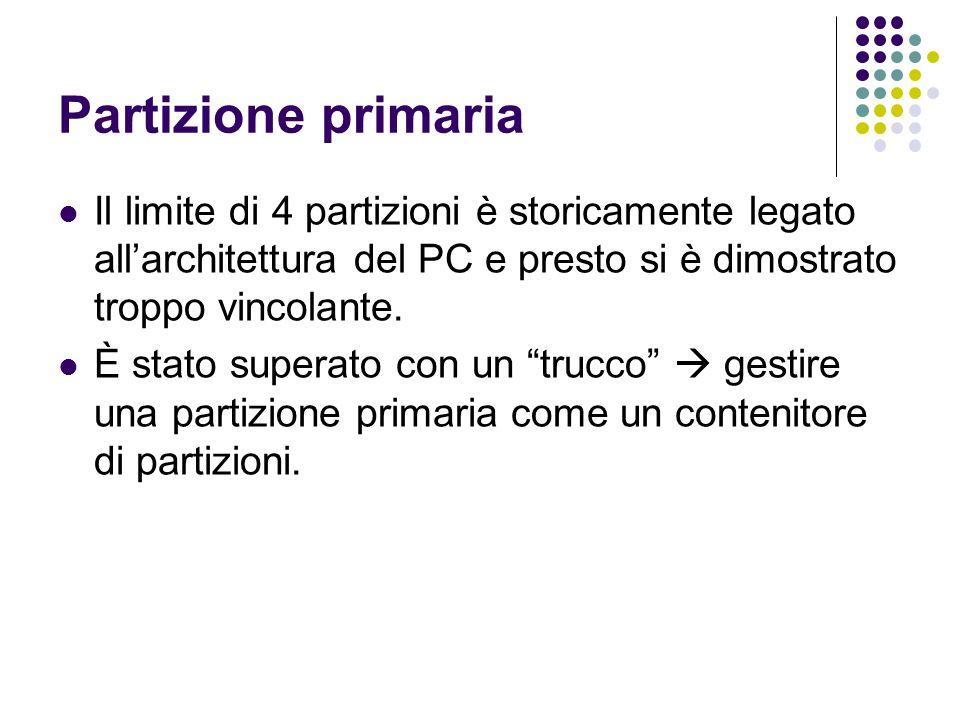 Partizione primaria Il limite di 4 partizioni è storicamente legato all'architettura del PC e presto si è dimostrato troppo vincolante.