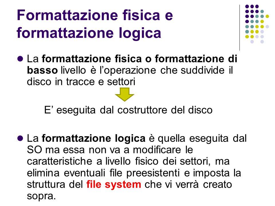 Formattazione fisica e formattazione logica