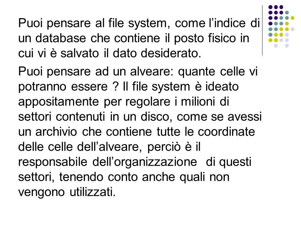 Puoi pensare al file system, come l'indice di un database che contiene il posto fisico in cui vi è salvato il dato desiderato.