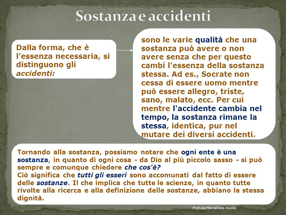 Sostanza e accidenti