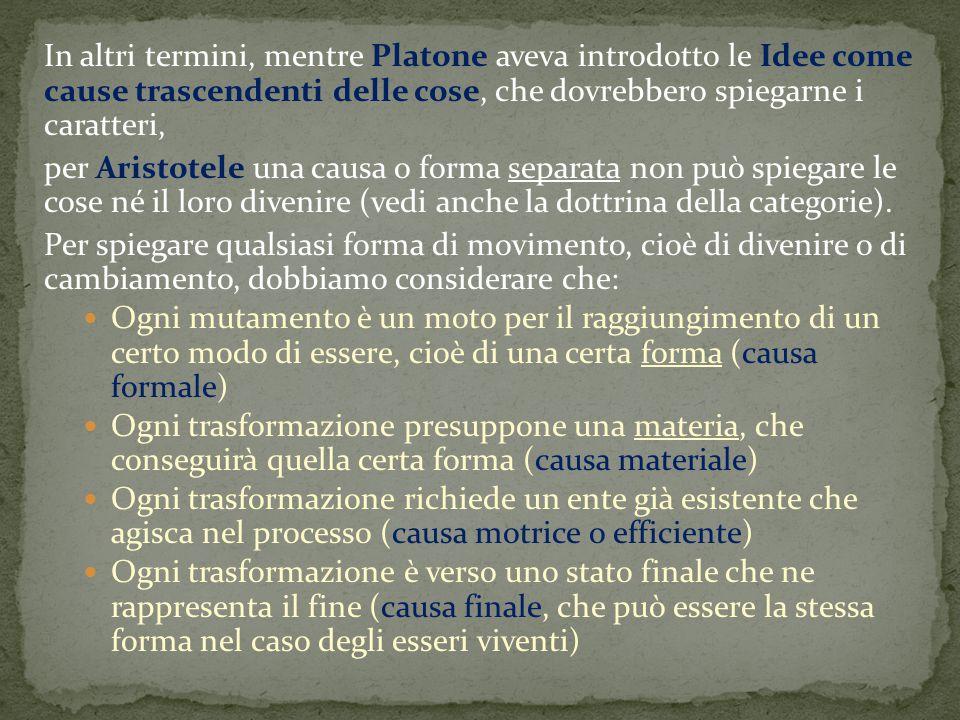In altri termini, mentre Platone aveva introdotto le Idee come cause trascendenti delle cose, che dovrebbero spiegarne i caratteri,