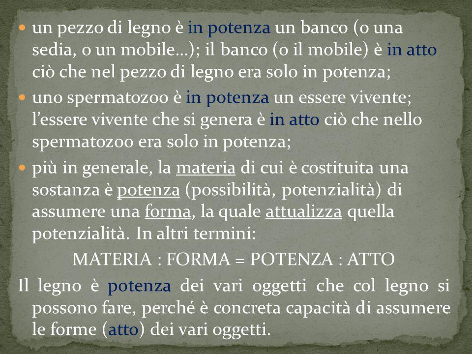 MATERIA : FORMA = POTENZA : ATTO